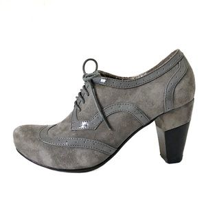 Hush Puppies Suede Leather Lace-up Heels 7.5 Grey